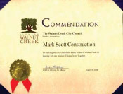 Commendation from the Walnut Creek City Council