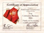 Certificate of Appreciation from Home Depot